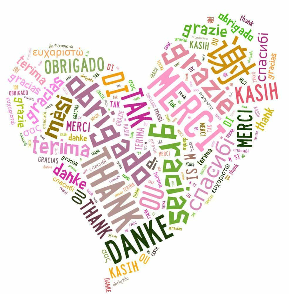 cœur réalisé avec le mot merci dans toutes les langues