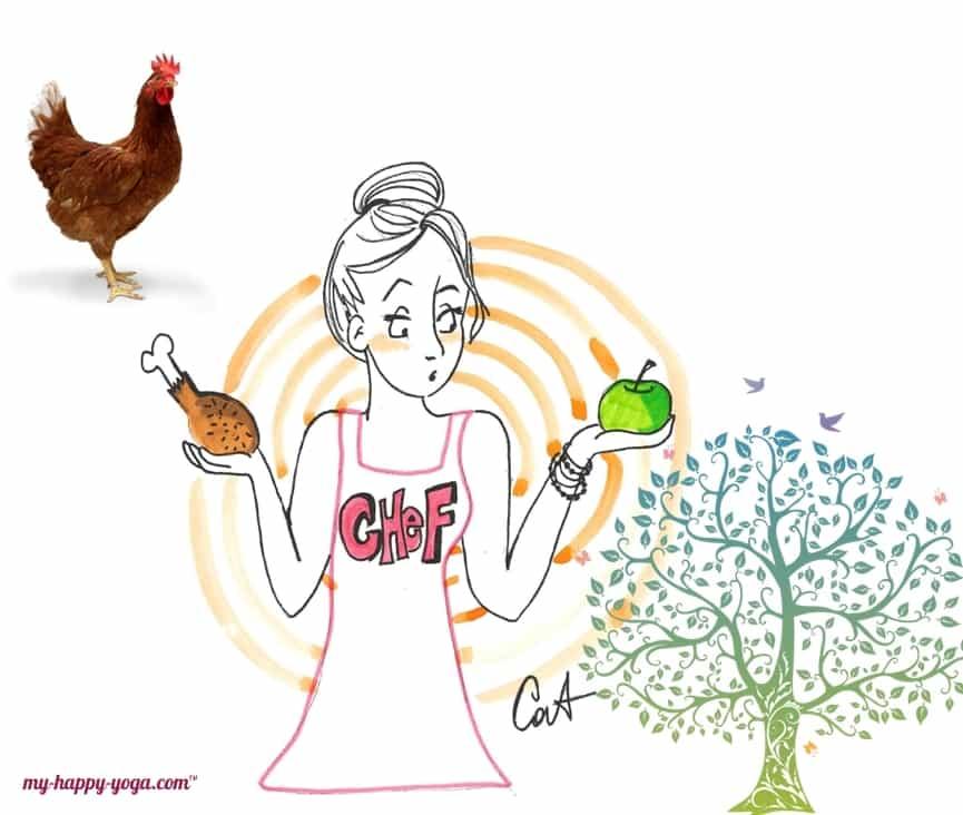jeune femme hésitant entre manger du poulet ou une pomme