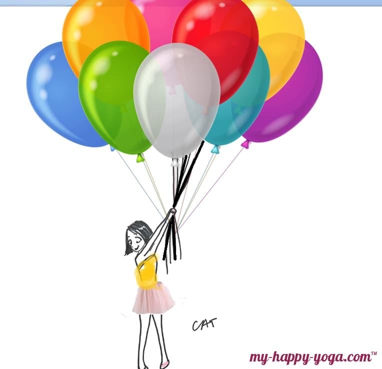dessin d'une jeune femme qui s'accroche à ses ballons mais qui apprend l'art du détachement