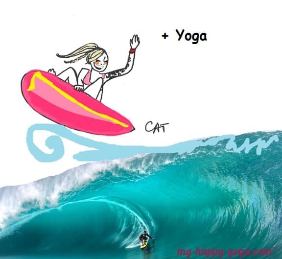 dessin d'une jeune yogi qui surf