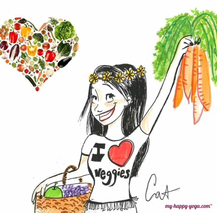 jeune femme heureuse d'être végétarienne et manger des légumes
