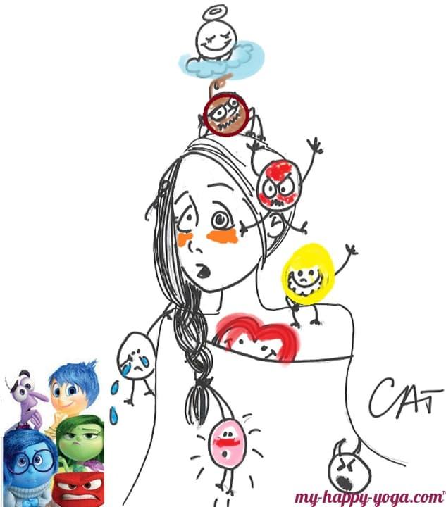 dessin d'une jeune femme qui essaye de gérer ses émotions colère peur dégoût joie tristesse grâce au yoga