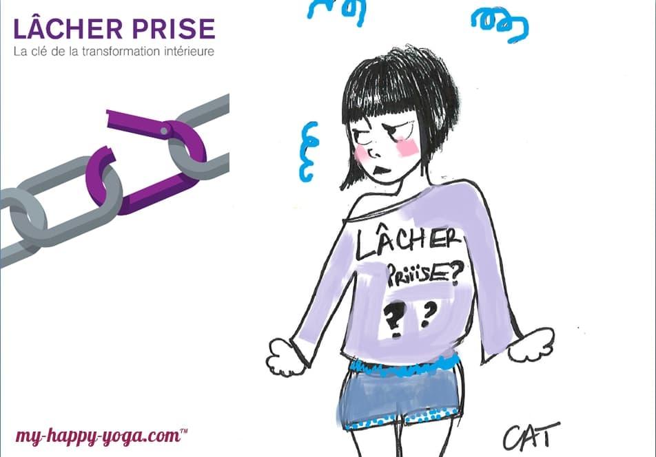 dessin d'une jeune femme qui essaye de lâcher prise grâce au yoga