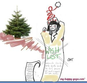 jeune femme qui déchire sa wishlist de Noël